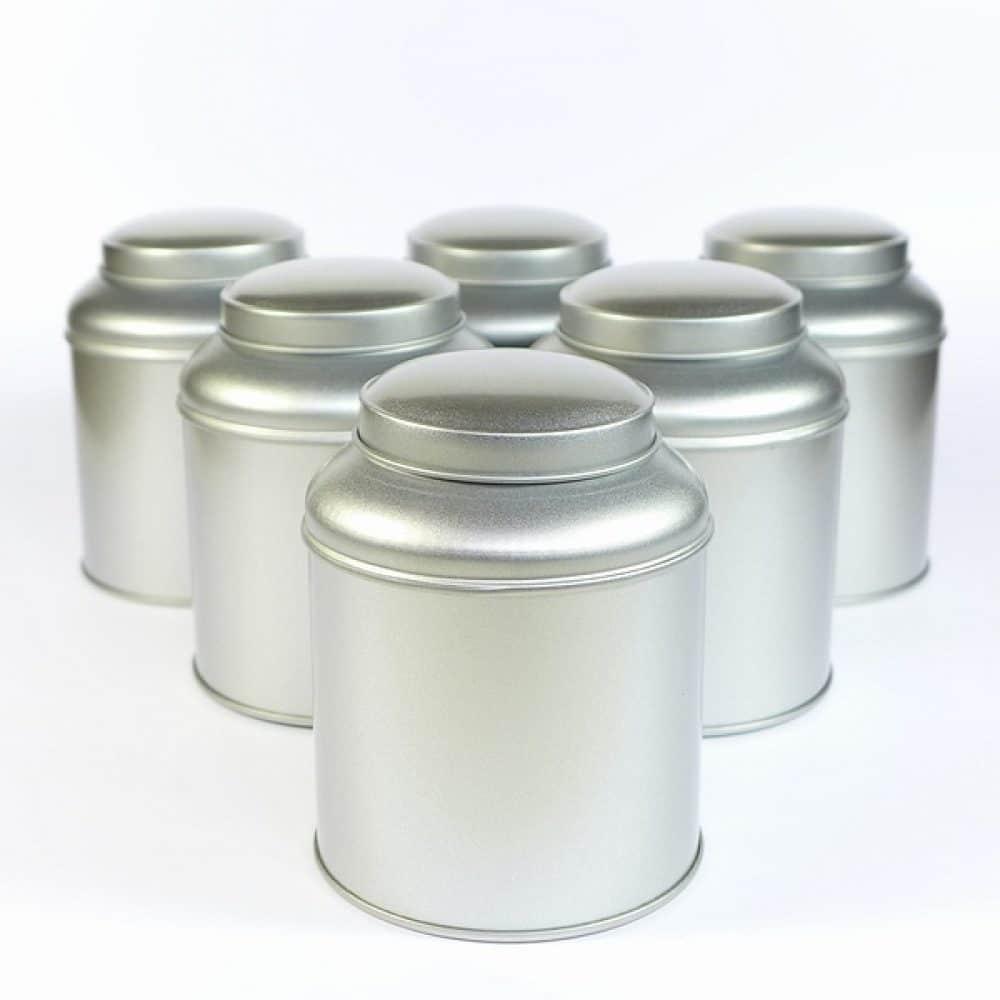 Bewaarblik thee dome zilver
