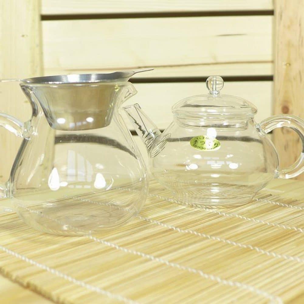Combiset glazen potje, pitcher en zeef
